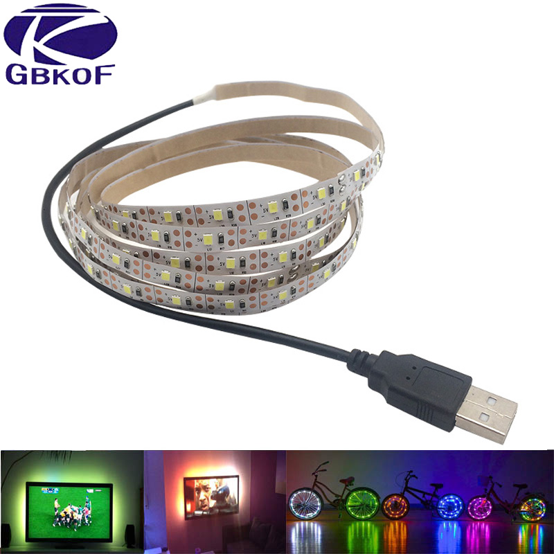 5V 50CM 1M 2M 3M 4M 5M USB Cable Power LED strip light lamp SMD 3528 Christmas desk Decor lamp tape For TV Background Lighting kinlams 5v 50cm 1m 2m 3m 4m 5m usb cable power led strip light smd2835 3528 christmas desk lamp tape for tv background lighting