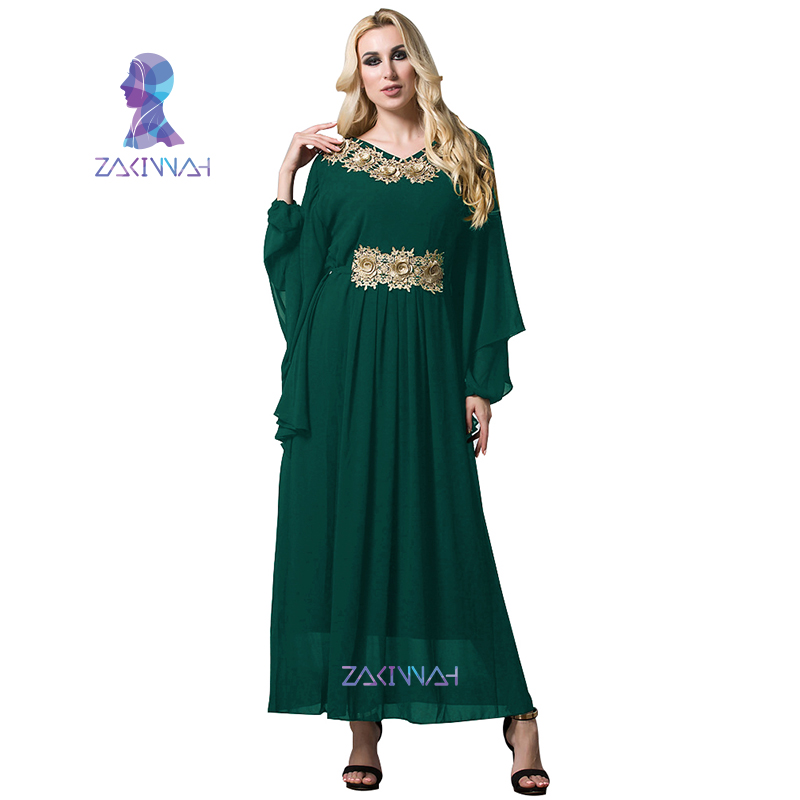 20e85734f2 Women Chiffon Gold Flowers Long Batwing Sleeve Turkish Islamic Women Maxi Dress  Arabic Middle East Robes Plus Size XL 7XL-in Islamic Clothing from Novelty  ...