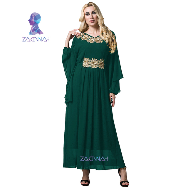 da7af8f1fc Women Chiffon Gold Flowers Long Batwing Sleeve Turkish Islamic Women Maxi Dress  Arabic Middle East Robes Plus Size XL-7XL