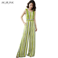 Women Spring Summer Chiffon Jumpsuits High Waist Casual Wide Leg Sleeveless Stripe Flower Plus Size Long Pants Rompers SR283