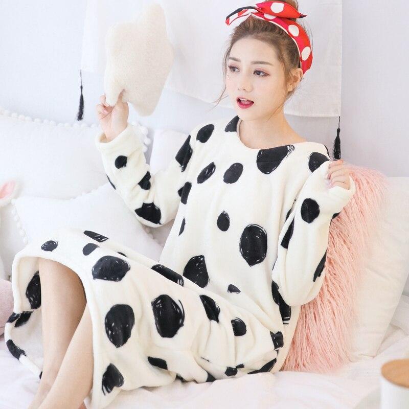 Flannel Nightgown 2018 Sleep Clothing long Sleeved Sleepshirts Women Nightwear Female Nighties winter nightgown sleepwear