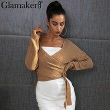 Glamaker Обёрточная бумага вязаный свитер женские осенне-зимние шикарный Повседневный свитер джемпер свободные кардиганы асимметричный подол