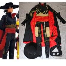 Hero Catcher High Quality Custom Made Hero Zorro Cosplay Costume Zorro Costume Set With Hat Mask Zorro Spandex Suit