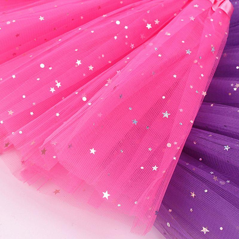 Children Three Layers Pleated Tutu Skirt Sequins Ballet Dance Mini A-Line Dress