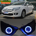 EEMRKE Car-Styling For Citroen C4 C-Quatre 2008-2011 COB Angel Eyes DRL FOG Light Daytime Running Lights Halogen Bulbs H11 55W