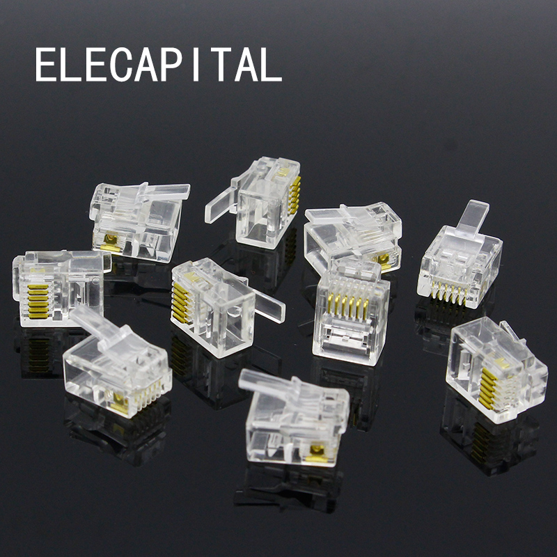 цена на 10pcs 6P6C 6 Pins 6 Contacts RJ11 Telephone Modular Plug Jack,RJ11 Connector