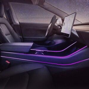 Image 4 - רכב פנים אווירה שינוי שבעה צבעים של אור הסביבה שינוי בשליטה אביזרי עבור טסלה דגם 3