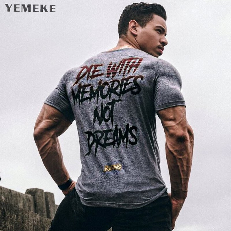 YEMEKE New Men Short Sleeve Cotton t-shirt Summer Casual Fashion Gyms Fitness Bodybuilding T shirt Male Slim Tees Tops Clothing