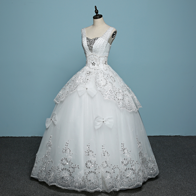 Robes Robe Princesse De Bal Luxe Hiver cou 2018 Qualité V Mariage Mariée Blanc Nouveaux Manches Simple Tulle À Lacets Supérieure Sans lKFT1Jc