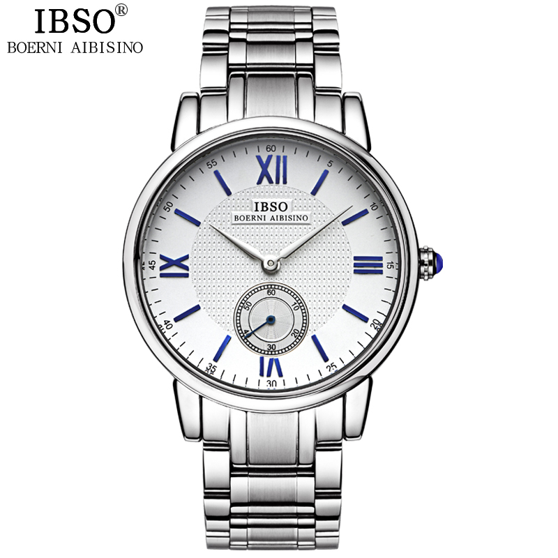 IBSO Business Gentleman 2018 Seconds Display Men Watches Family Casual Quartz Watch The Men Genuine Leather Strap Relojes Hombre цена 2017