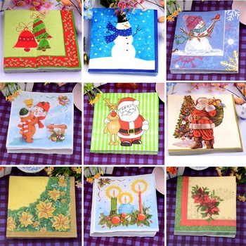 Food grated Decoupage Christmas paper napkins Santa clause snowman tissue paper Xmas party decoration home hotel