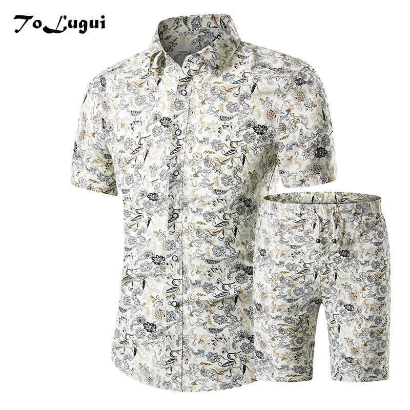 2018 Summer Set Men Causal Short Sleeve Shorts 2PCS Mens Print Shirts and Shorts Set Fashion Tracksuit Mens Sportwear ...
