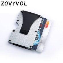Zovyvol moda magro couro couro do plutônio dos homens banco cartão de crédito deslizamento caso anti rfid proteção alumínio negócio carbono metal titular