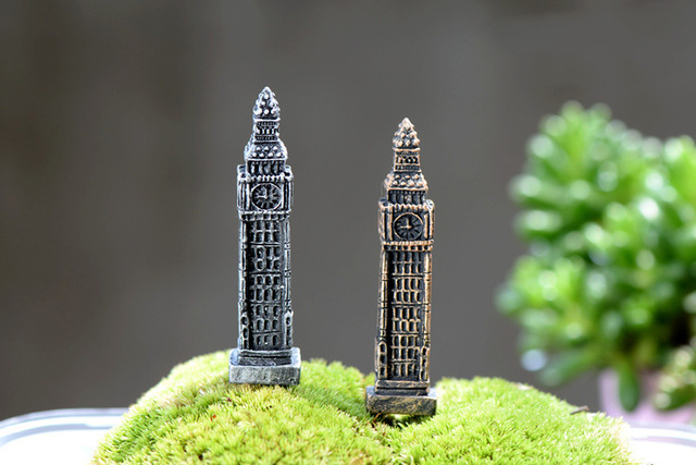 Big Ben Tower figures decorative mini fairy garden animal statue Home Desktop Gift Moss ornaments resin craft TNB070 5