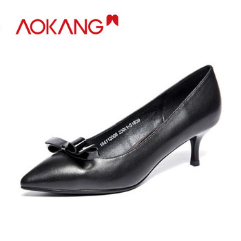 AOKANG Spring Women Shoes leather genuine shoes woman shallow high heel shoes fashion noble shoes woman