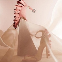 Hot Selling Pink Suede Ruffles Women Sandals Cut-out Ankle Strap Wedding Shoes Bride Stiletto Heels Gladiator