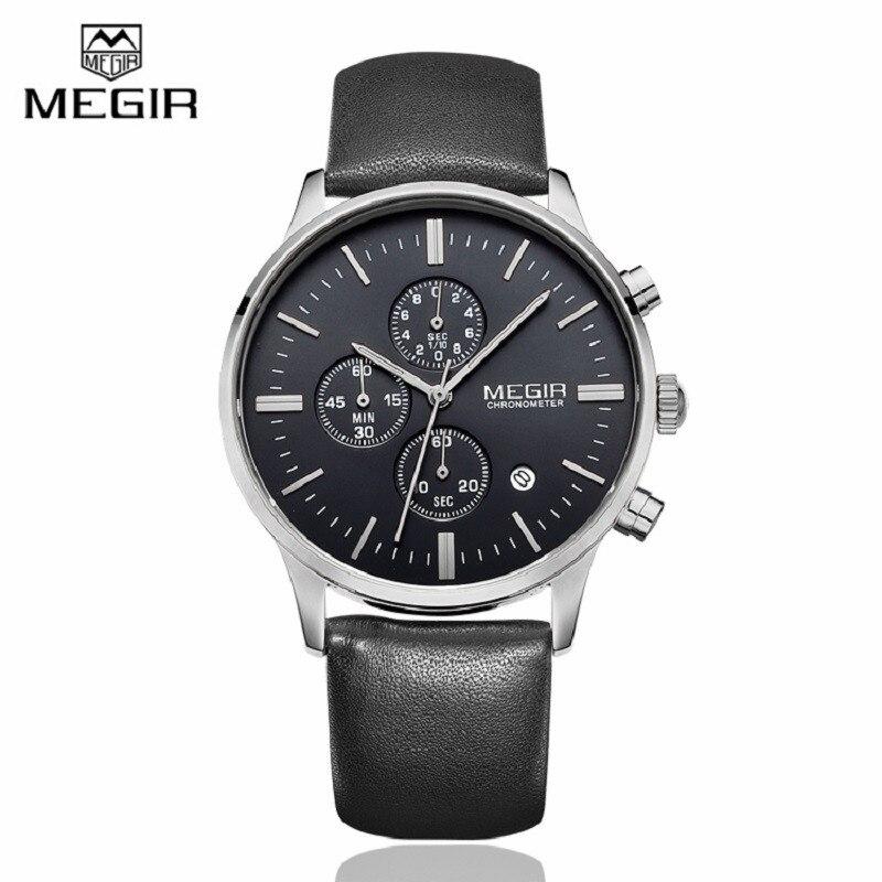 MEGIR Mens font b Watches b font Top Brand Luxury 6 hand Function Chronograph font b