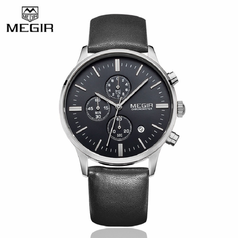 MEGIR font b Mens b font Watches Top Brand Luxury 6 hand Function Chronograph Watch Military