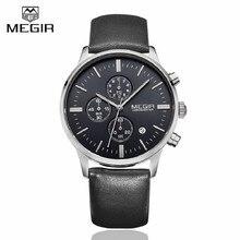 MEGIR Relojes Para Hombre de Primeras Marcas de Lujo 6 mano Función Cronógrafo Reloj de Los Hombres Militares de Lona y Cuero Genuino de Pulsera de Cuarzo reloj
