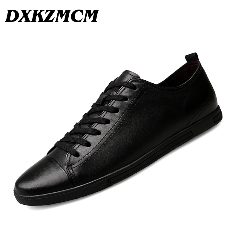 DXKZMCM Big Size Genuine Leather Men Casual Shoes Men