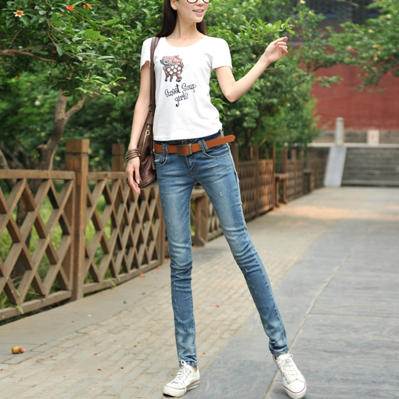 2019 Spring Fashion Casual Female Girls Students Cotton Brand Plus Size Stretch Tight Frazzle Pencil Pants Jeans Clothing