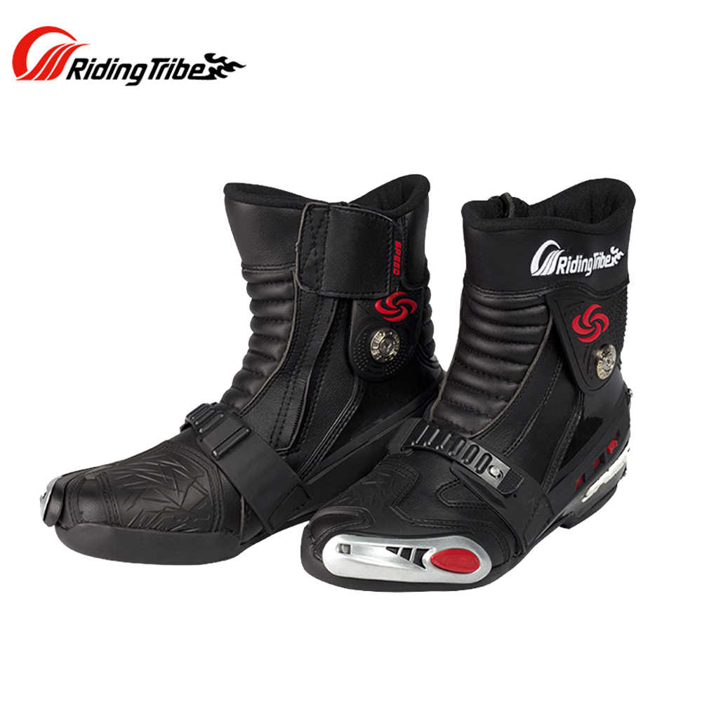 RIDING TRIBE SPEED BIKERS Motorcycle Boots Leather Motorcycle Boots Motocross Off-Road Riding Mid-Calf Boots Moto Shoes A008 куртка для мотоциклистов riding tribe