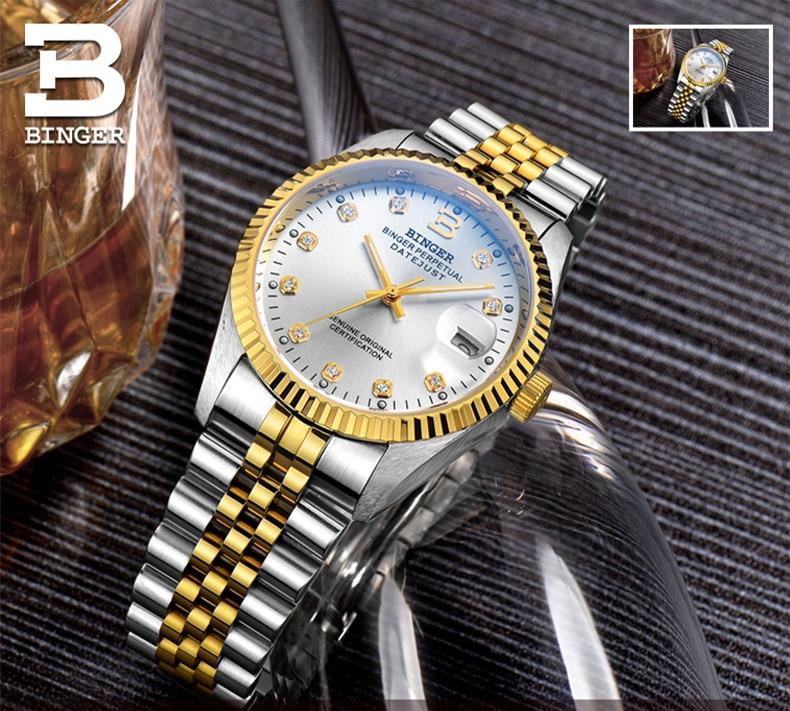 cristal auto-vento mecânico pulseira de aço completo