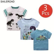 Saileroad 3 pcs 공룡 어린이 t 셔츠 동물 인쇄 어린이 옷 여름 아기 짧은 소매 작은 소년 t 셔츠 4 년 여자 티
