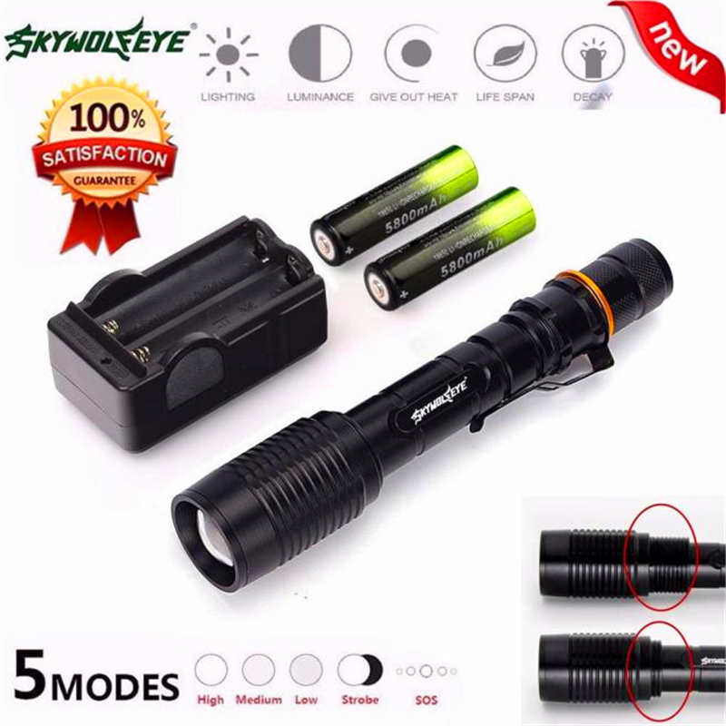 Tactical 5-mode 4000LM Zoomable XML T6 LED Flashlight&18650&Charger lanterna led recarregavel torch flashlight t6 #4S5 uking xml t6 1000lm 5 mode zoomable camouflage flashlight torch