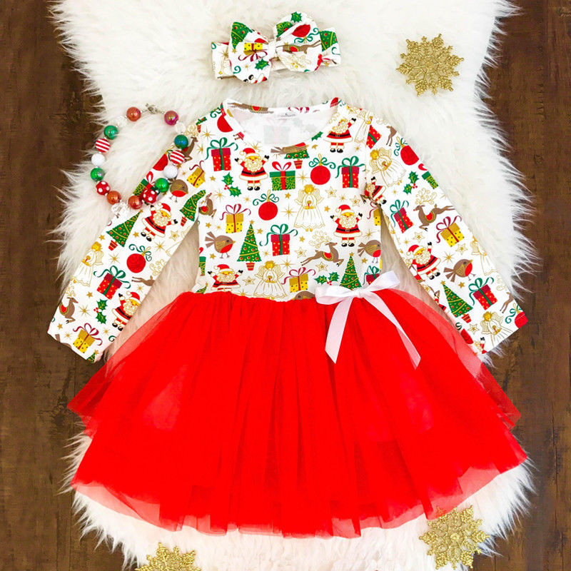Christmas Toddler Kids Baby Girl Clothing Long Sleeve