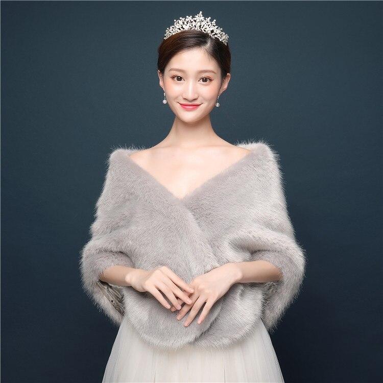 Light Grey Warm Short Faux Fur Bridal Wraps Winter Soft Formal Ladies Special Occasion Party Wrap Wedding Shawl Bolera
