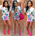 G & L 2016 mulheres Sexy elegante top + shorts 2 pcs Playsuits clube Casual bodycon bandage macacão Sexy Romper