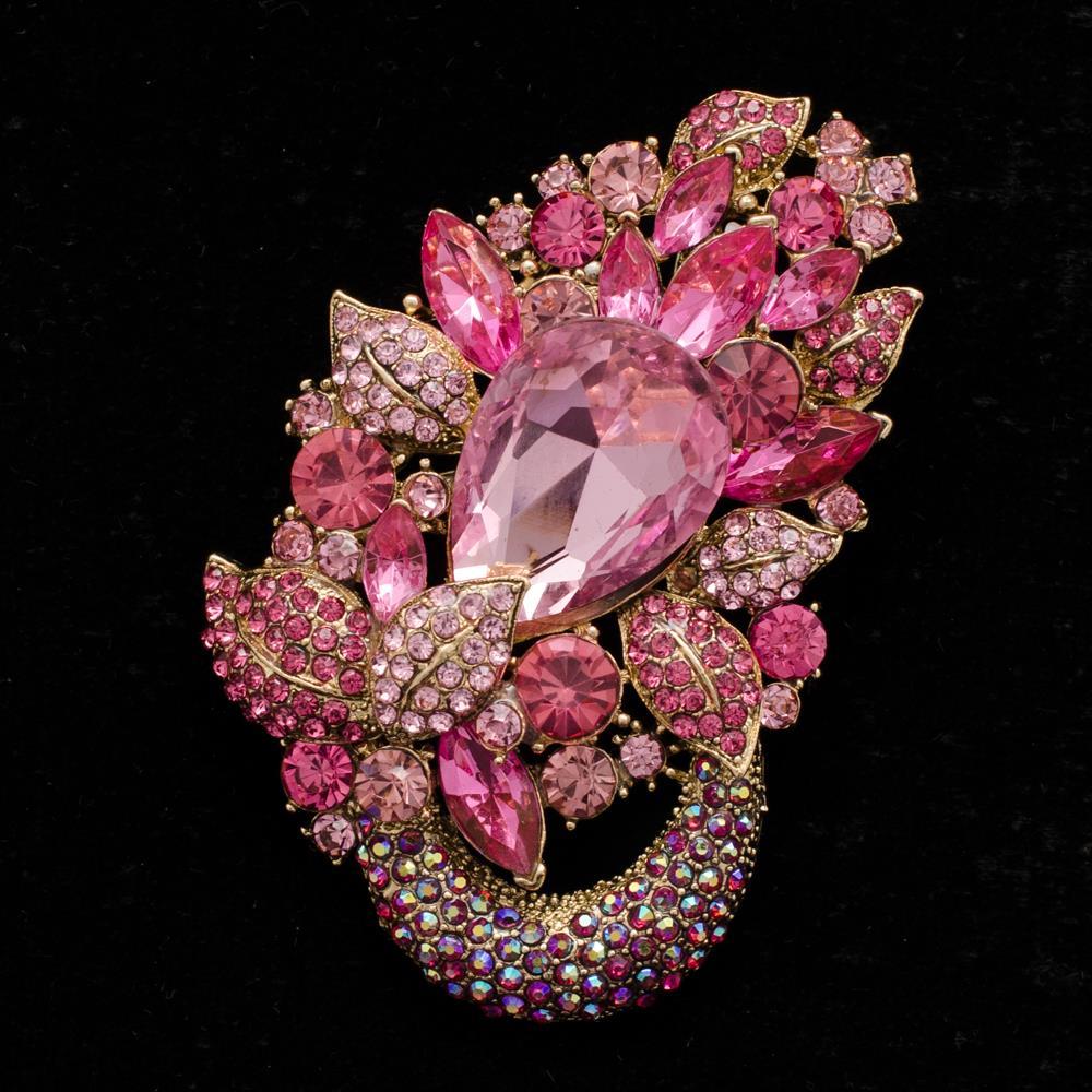 Drop Rhinestone Crystal Pink Flower Pendant Brooch Pins for Women Fashion Jewelry 6534
