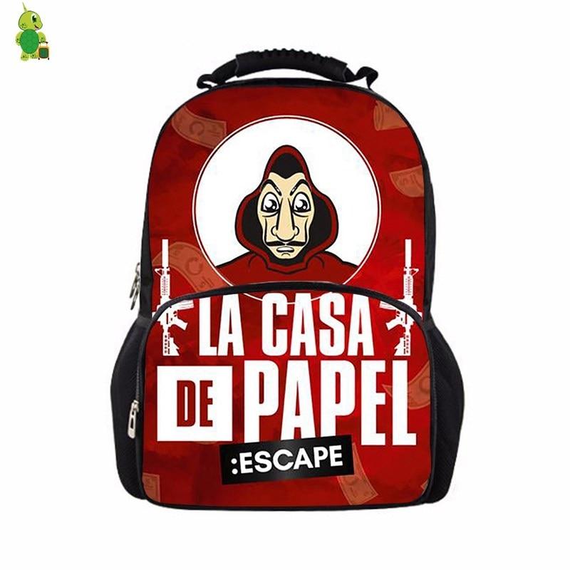 La Casa De Papel Women Men Backpack School bags for Teenage Boys Girls bookbags Large Travel Rucksack luxury Laptop Backpack