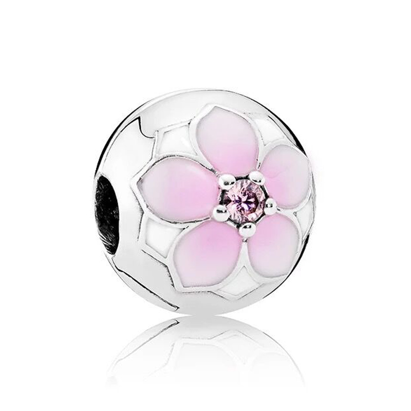 New 925 Sterling Silver Bead Charm Enamel Magnolia Bloom Fixed Clip Clip Lock Stopper Beads Fit Pandora Bracelet Diy Jewelry