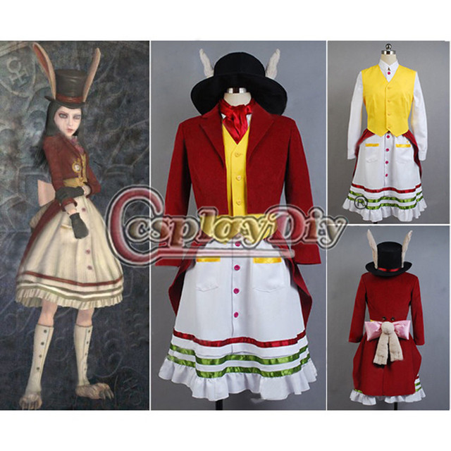 Cosplaydiy Alice Madness Returns Cosplay Costume Lucky Rabbit Dress For Adult Women Halloween Custom Made D0616