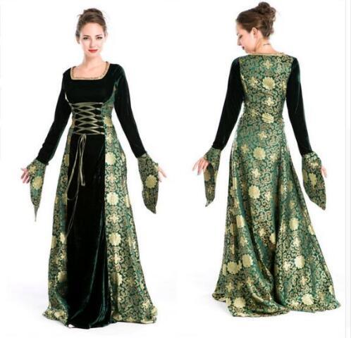 Donna Rinascimento Medievale Gotico Lungo Vestito Per Halloween Abiti Da  Ballo Costumi Gypsy chiesa Notre Dame bb9dd20f5e4