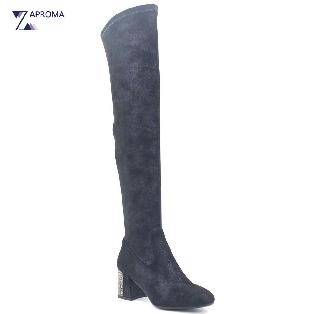 2018 Over the Knee Chunky High Heel Shoes Bling Women Diamond Boots Black Green Dark Blue Suede Crystal Round Toe Winter Spring велосипед altair city high 28 19 2015 dark blue