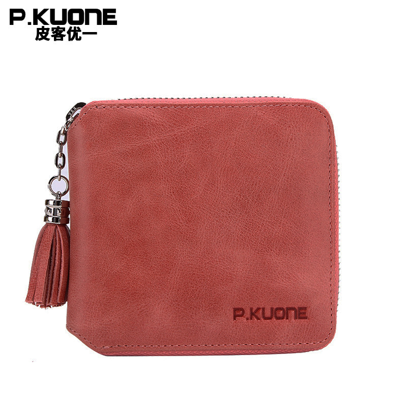 P.KUONE High Quality Fashion Genuine Leather Women Wallet Small Standard Wallets Coin Bag Brand Design Lady Purse Card Holders цены онлайн