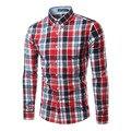 Nueva llegada de Los Hombres Causal camisa a cuadros de manga larga camisas de los hombres maseulina soical red del mens camisas de vestido Camisa chemise homme 13 colores 6005