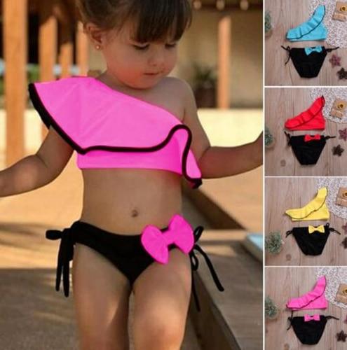 2PCS Sexy Baby Girl Bow Bikini Set Push-up Swimsuit Ruffled Swimwear Beachwear Swimming Suit 2019 New Summer Tankini