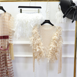 Женский базовый свитер, украшенный перьями свитер на осень и зиму