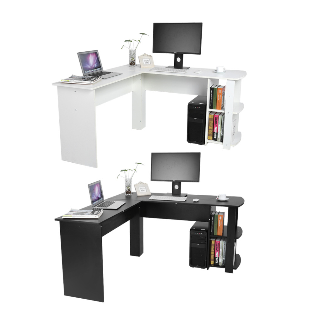 US $77.0 23% OFF|Utility Wooden Office Computer Writing Desk Home Gaming PC  Furnitur L Shape Corner Study Computer Table With Book Shelf-in Laptop ...
