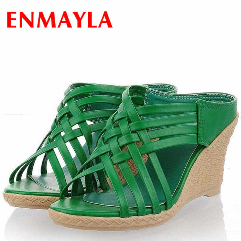 ENMAYLA Bohemian Summer Sandals New Wedges Shoes Women 4-color Casual Platform High Sandals New Slides Sweet Girl Shoes