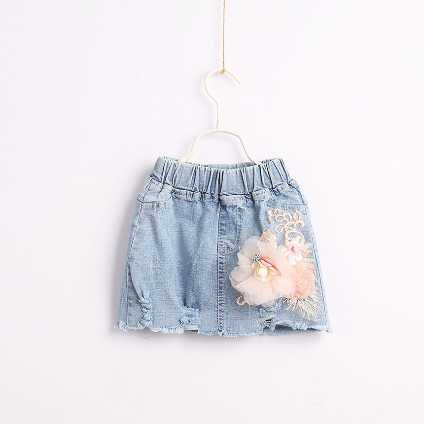 2019 Fashion Jean Floral Skirts For Girls Baby, Princess Kids Cute Denim Skirt Wholesale 5 pcs/lot, Free Shipping
