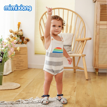 Summer Clothes For Girls Sunsuits Fashion Rainbow Pattern Newborn Boys One Piece Bodysuits Knit Children Overalls Wear Button Up button up zigzag pattern cable knit sweater