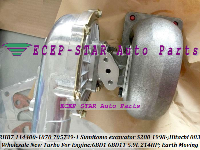 RHB7 114400-1070 705739-5001S Turbo Turbocharger For Sumitomo excavator S280 1998- Earth Moving 6BD1 6BD1T 5.9L 214HP (1)