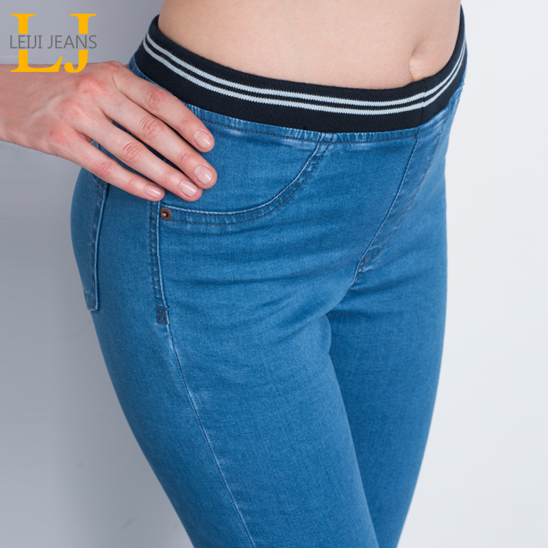 LEIJIJEANS Fashion Autumn Leggings Blue S 6XL Woman Mid Waist Plus Size women High Elastic Full Length Pants Skinny pencil   Jeans