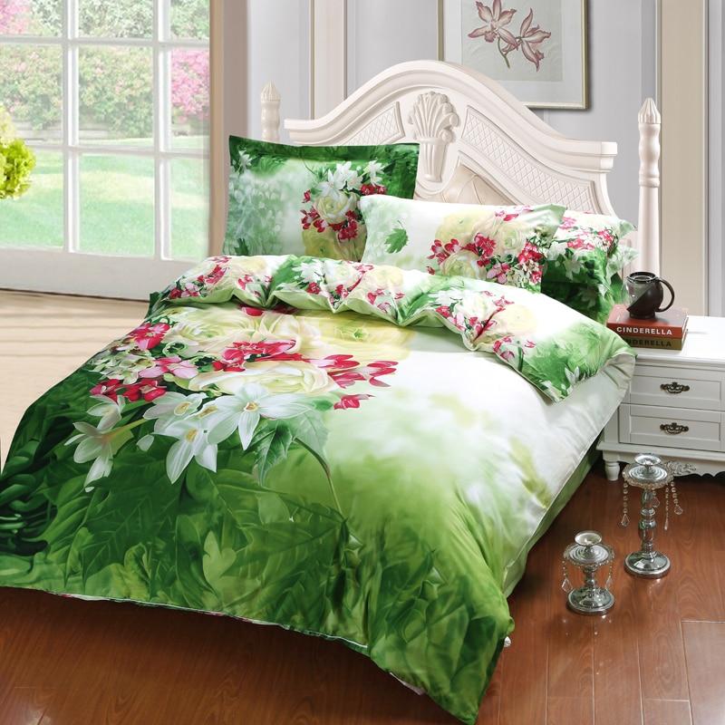 Brillante Colorido 3D Floral Verde Hojas Juego de Cama Queen Size Sábanas Edredó