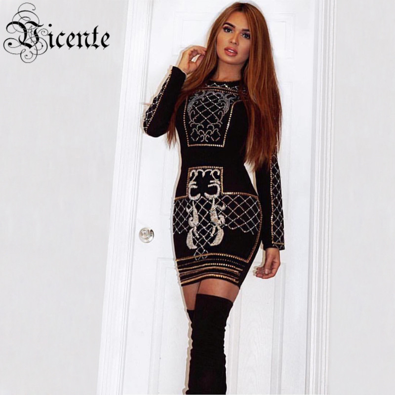 Free Shipping! 2017 New Luxe Fashion B*lmain Inspired Beads Embellished Long Sleeves Wholesale Celebrity Women Party Dress